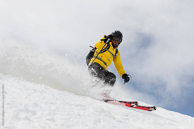 Skiing downhill by RG&B Images for Stocksy United