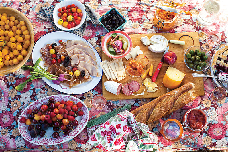 Cheese and Fruit Picnic by Sara Remington for Stocksy United