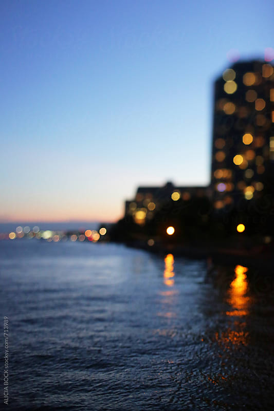 Toronto Buildings Along The Waterfront On A Summer Night by ALICIA BOCK for Stocksy United