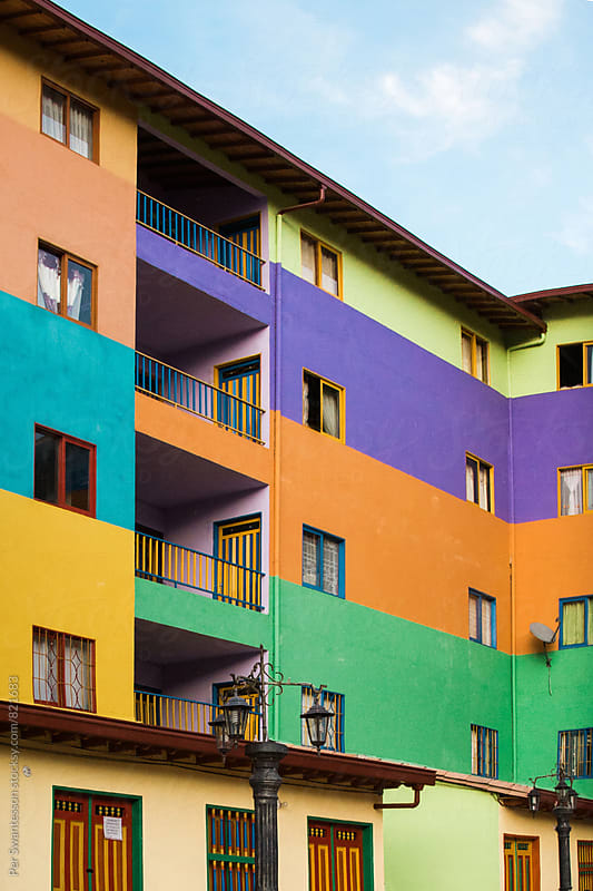 Colorful houses in Gautapé, Colombia by Per Swantesson for Stocksy United