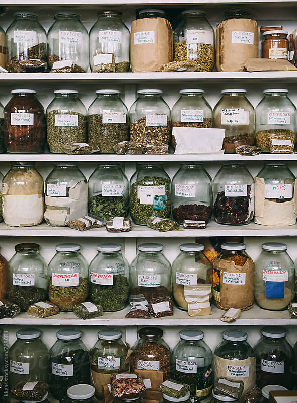 Shelves full of herbal medicines and remedies by kkgas for Stocksy United