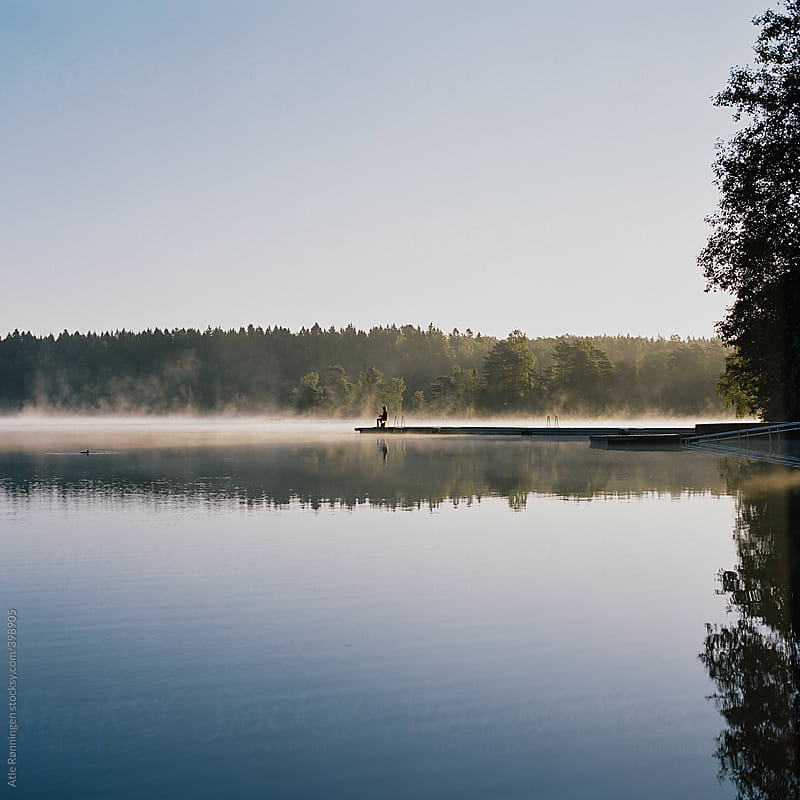 Misty Lake: Sunrise At A Misty Lake In Oslo, Norway (medium-format) By