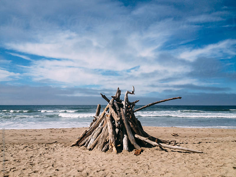 driftwood structure on beach by Jess Lewis for Stocksy United