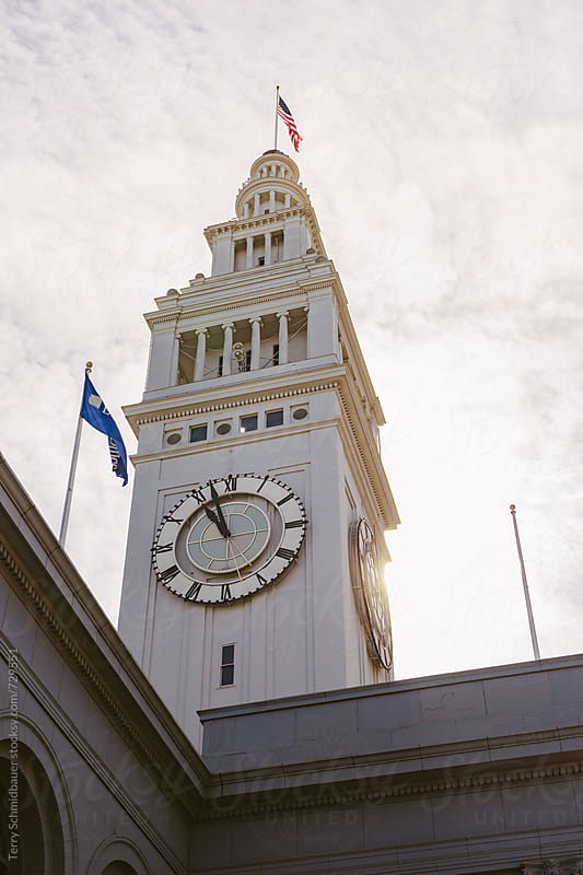 Ferry Pier Clock Tower by Terry Schmidbauer for Stocksy United