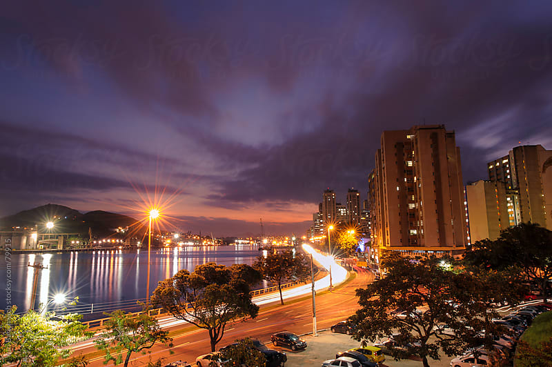Sunset and Nightlights - Vitória,Brazil - Downtown. by Yuri Barichivich for Stocksy United