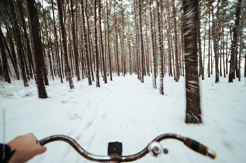 Riding a bicycle through a snowy forest by Tõnu Tunnel for Stocksy United