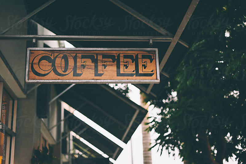 Hanging Typography Coffee Sign by Briana Morrison for Stocksy United