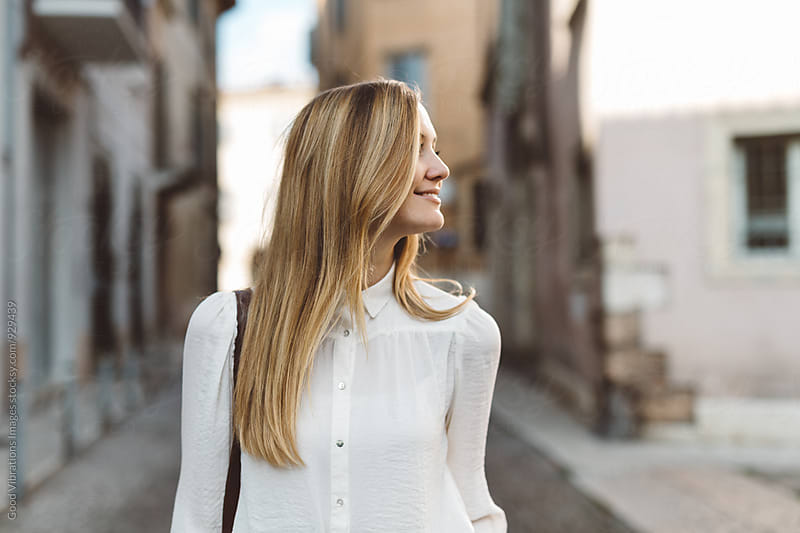 Blond woman in Verona, Italy by Good Vibrations Images for Stocksy United
