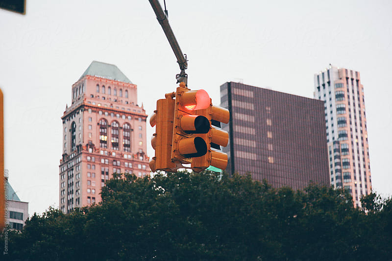 Red Traffic Light in New York City by Tommaso Tuzj for Stocksy United