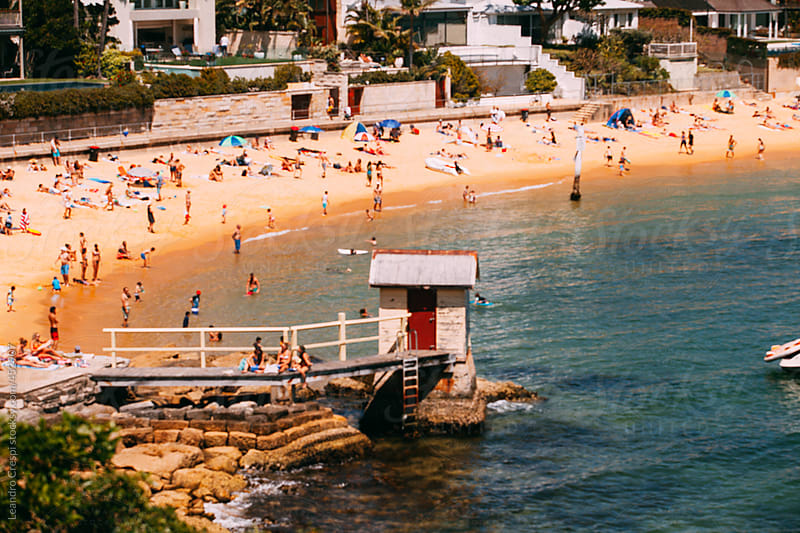 Out of focus crowded beach scene, Bondi Beach, Australia by Leandro Crespi for Stocksy United