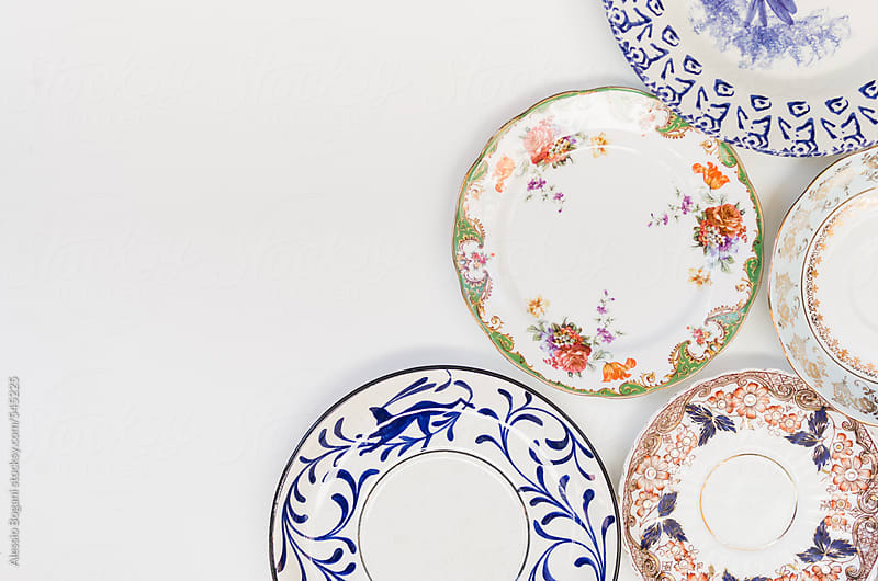 Vintage plates with copyspace by Alessio Bogani for Stocksy United