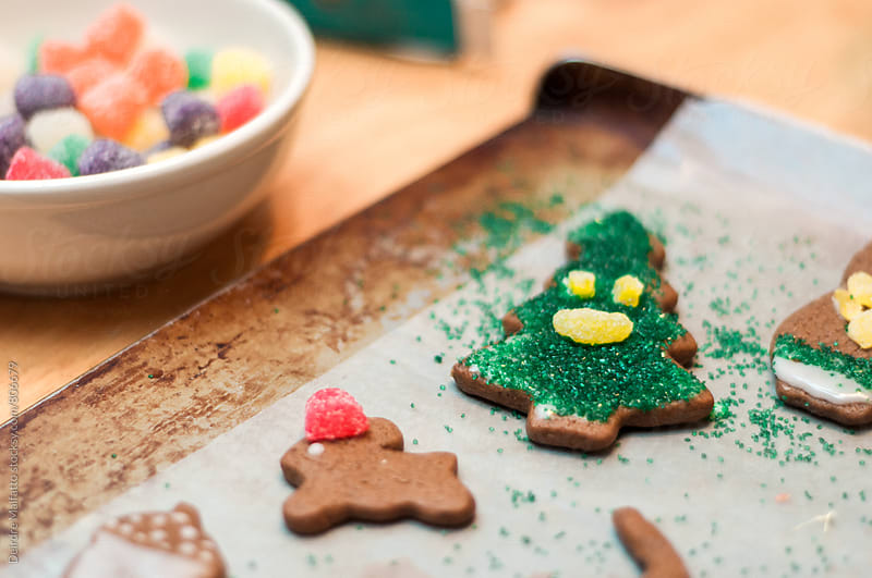 decorating christmas gingerbread cookies  by Deirdre Malfatto for Stocksy United