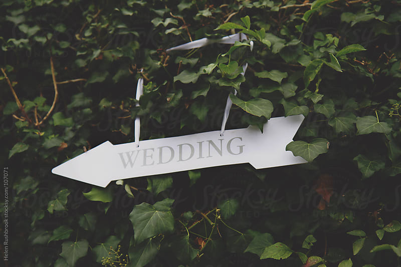 A sign in a hedgerow pointing to a wedding by Helen Rushbrook for Stocksy United