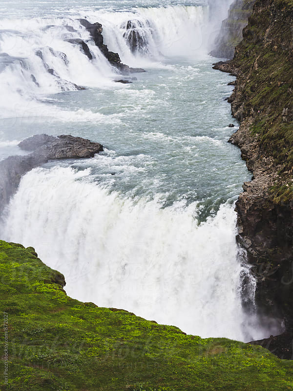 Beautiful and famous Gullfoss waterfall by Juri Pozzi for Stocksy United