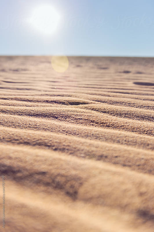 Sun flare and shadows amonsgt the wind blown ripples in the sand dunes of the Ningaloo Coast by Angela Lumsden for Stocksy United