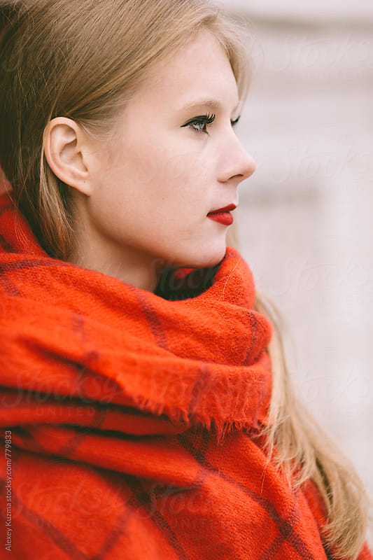 winter portrait of real young woman. by Alexey Kuzma for Stocksy United