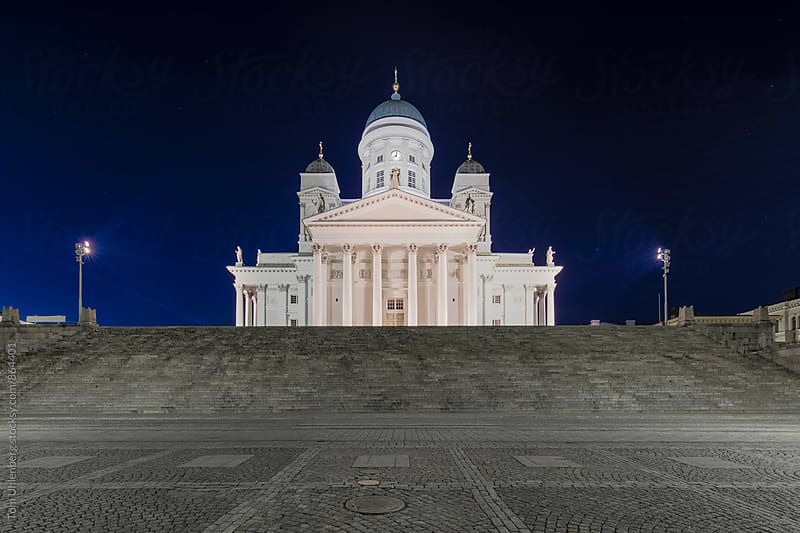 Helsinki, Finland - Illuminated Cathedral on Senate Square in the Dead of Night by Tom Uhlenberg for Stocksy United