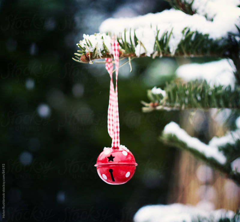 A bauble hanging on a snow-covered Christmas tree by Helen Rushbrook for Stocksy United