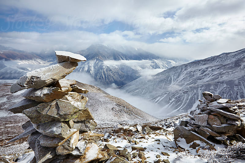 landscape of snow mountain in Sichuan China by Bo Bo for Stocksy United