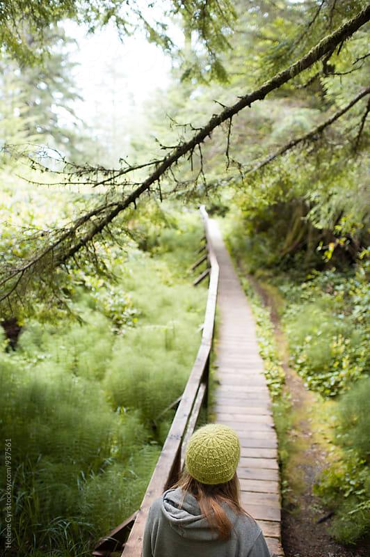 Boardwalk in Green Forest by Helene Cyr for Stocksy United