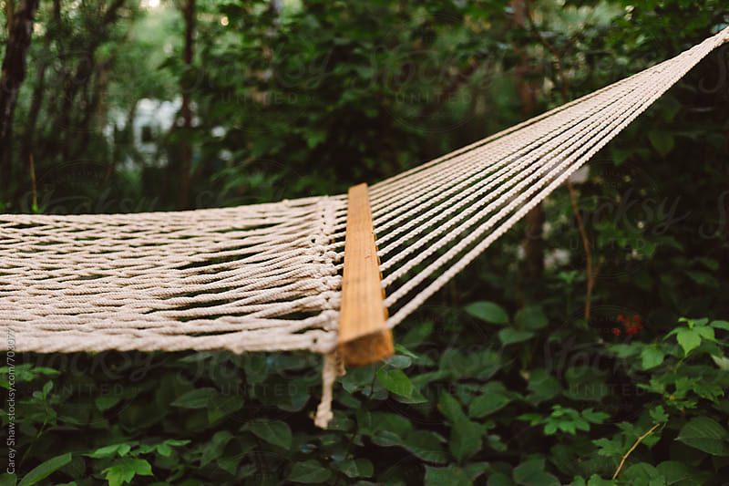 Detail of outdoor hammock by Carey Shaw for Stocksy United