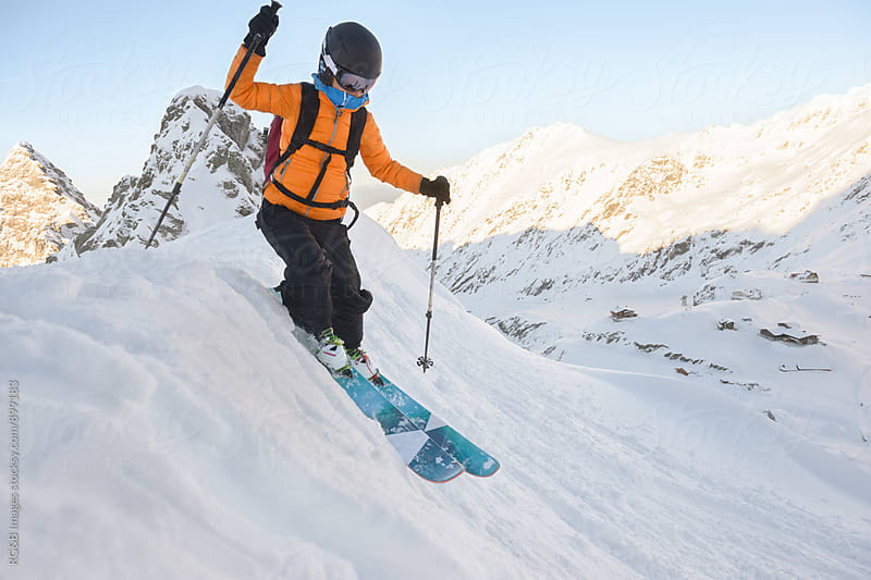 Skier on top of the mountain by RG&B Images for Stocksy United