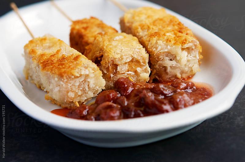 Crispy Tofu Kabobs with Rhubarb Chutney by Harald Walker for Stocksy United