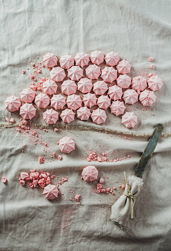 Strawberry meringue kisses by Tatjana Zlatkovic for Stocksy United