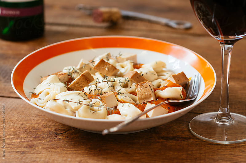 Tortellini with Pumpkin Sauce, Ricotta and Tofu by Harald Walker for Stocksy United