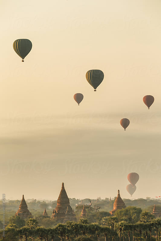 Hot air ballon over Bagan, Myanmar by Jino Lee for Stocksy United