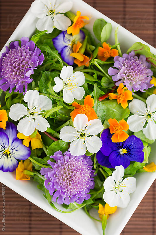 Salad bowl with edible flowers by Kirsty Begg for Stocksy United