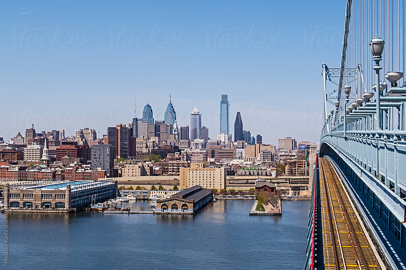 Philadelphia Skyline as seen from the Franklin Bridge by Melanie Kintz for Stocksy United