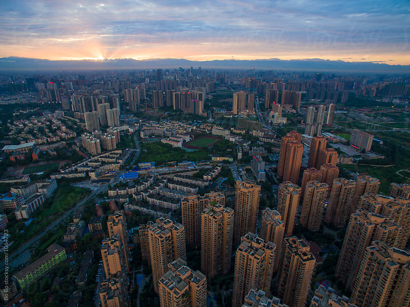 Chengdu City at Sunset by cuiyan Liu for Stocksy United
