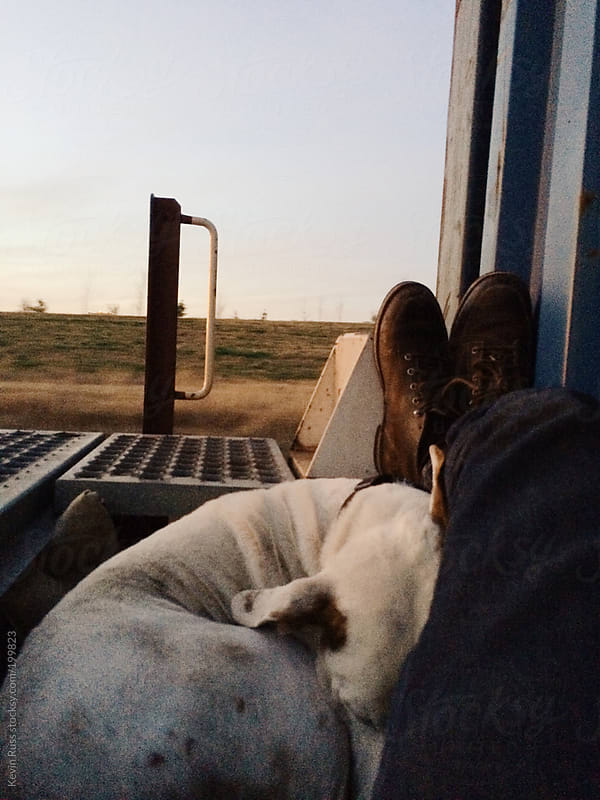 Man and Dog Riding by Freight Train by Kevin Russ for Stocksy United