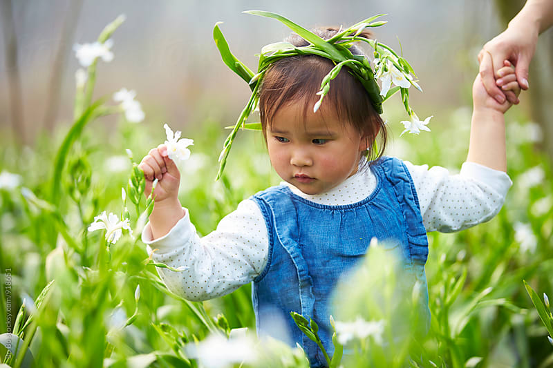 little asian girl picking flower in the spring field by Bo Bo for Stocksy United