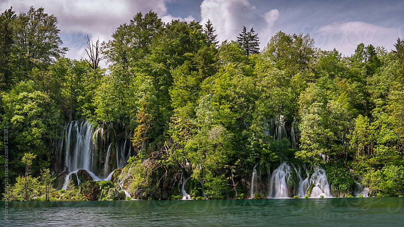 Waterfall in Plitvice by Andreas Wonisch for Stocksy United