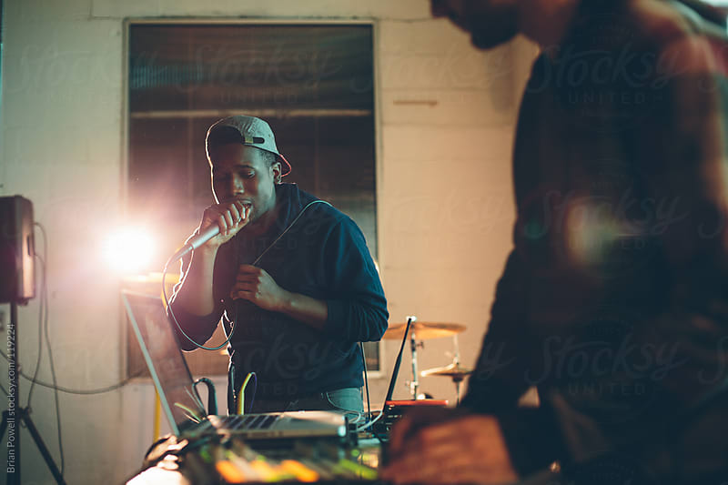 rapper and DJ perform a live set by Brian Powell for Stocksy United