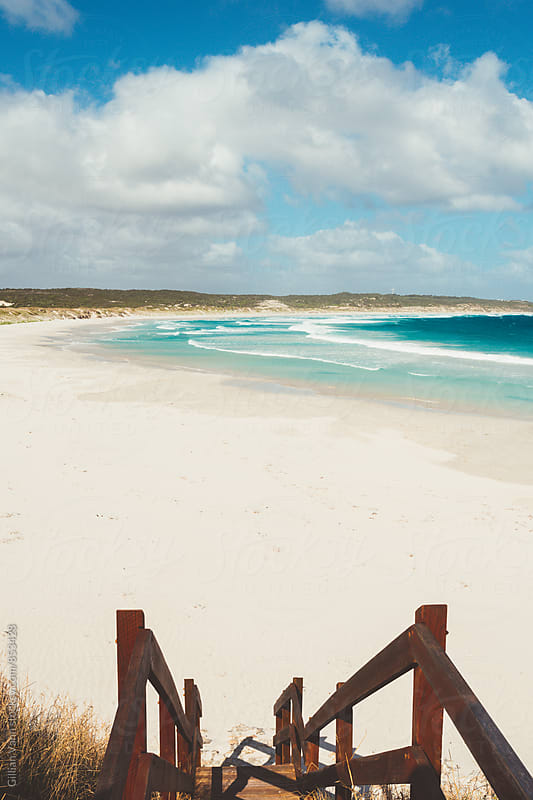 stairs down to an empty beach. Esperance, Australia. by Gillian Vann for Stocksy United