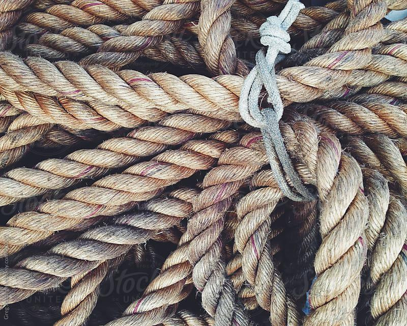 Heavy brown rope tied in a bundle by Greg Schmigel for Stocksy United