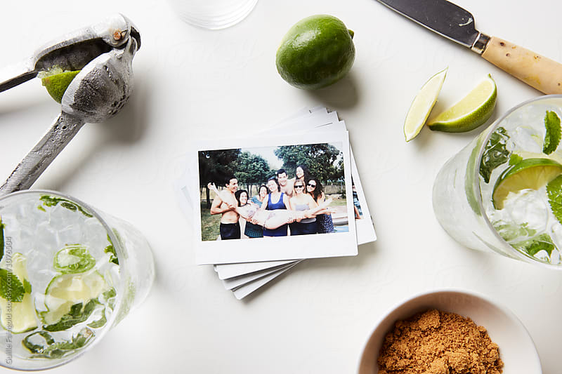Stack of polaroid shots with mojito ingredients by Guille Faingold for Stocksy United