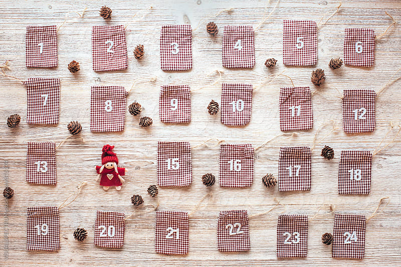 Homemade Advent Calendar Overhead by Julien L. Balmer for Stocksy United