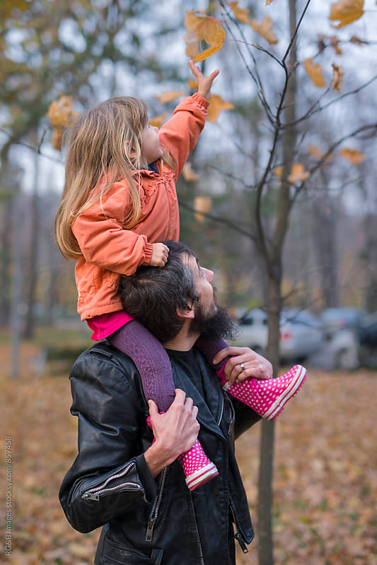 Little girl picking a leaf sitting on her father's shoulders by RG&B Images for Stocksy United