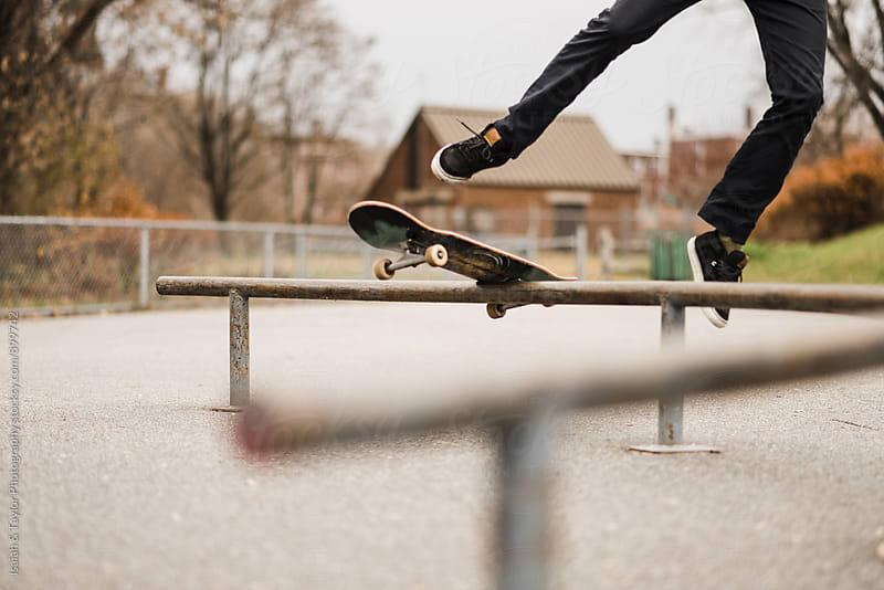Man falling off skateboard