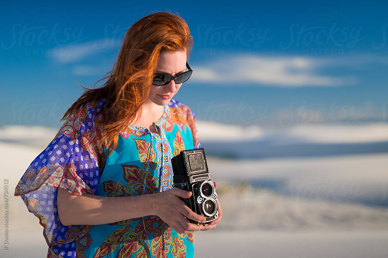 Woman Photographer at White Sands National Monument New Mexico With Vintage TLR Film Camera by JP Danko for Stocksy United