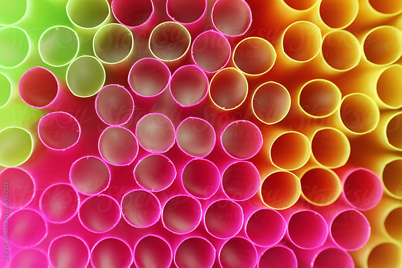Colourful macro straws with a shallow depth of field by Sara Wager for Stocksy United