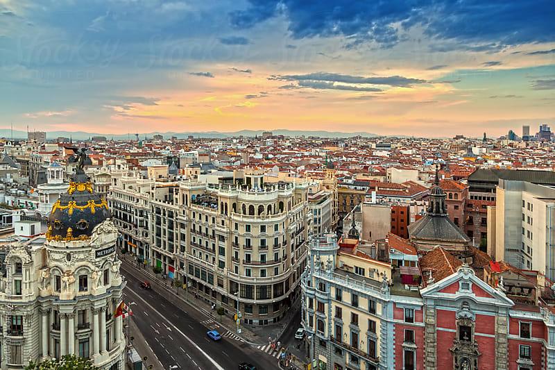 Gran Via Street, Madrid by VICTOR TORRES for Stocksy United