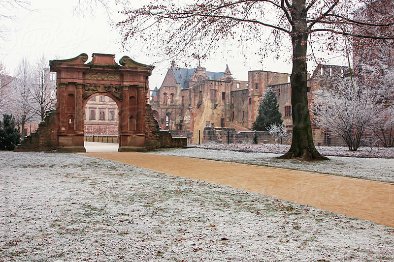 Castle ruins in a German winter, Heidelberg, Baden-Württemberg by Holly Clark for Stocksy United