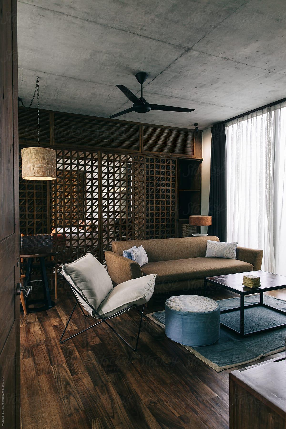 Interior design design furniture in hip modern hotel suite by visualspectrum for stocksy united