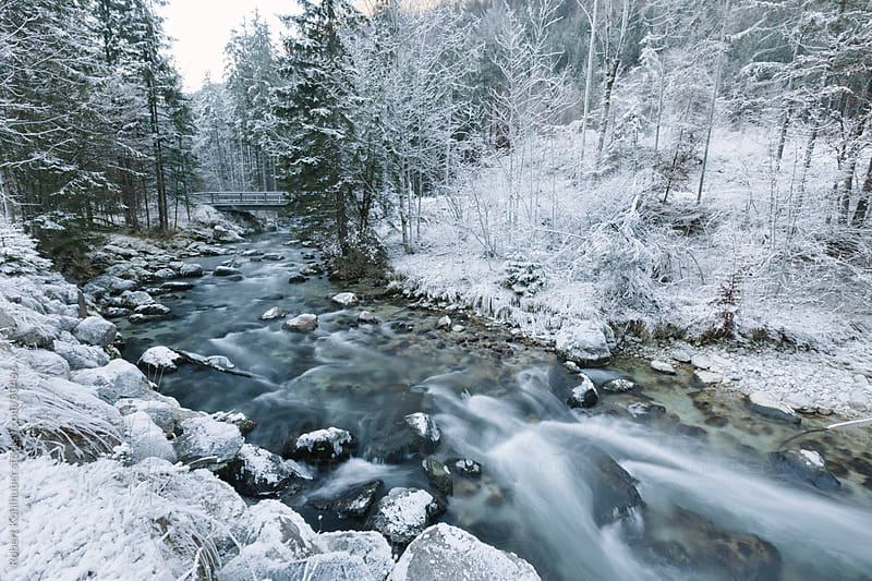 Winter river in frozen landscape by Robert Kohlhuber for Stocksy United