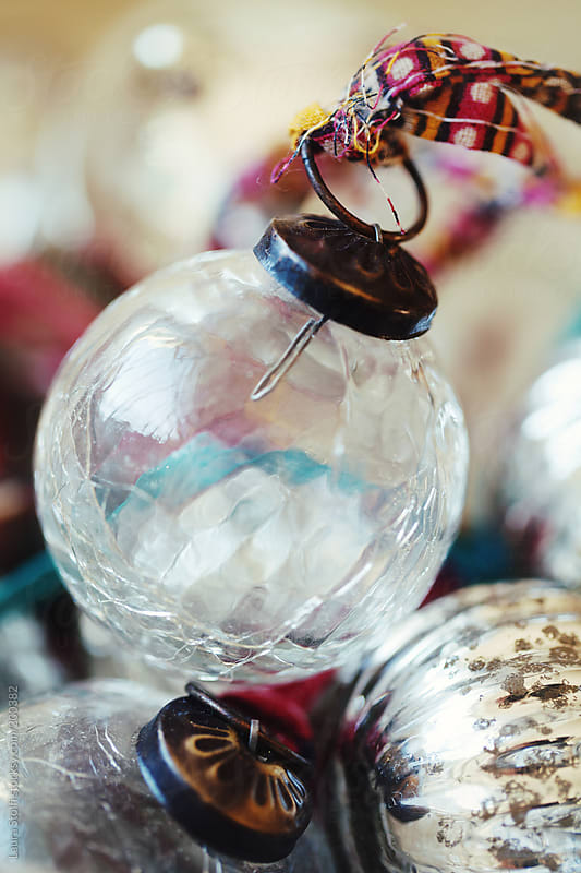 Extreme close-up of vintage Christmas glass bauble by Laura Stolfi for Stocksy United